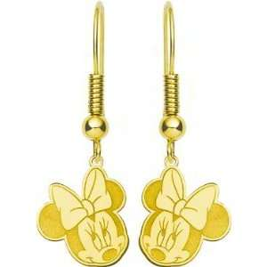Gold Plated Sterling Silver Disney Minnie Mouse Dangle Earrings