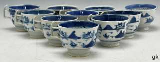 of 10 Antique Chinese Porcelain Tea Cups Blue & White Canton Late 1700
