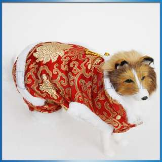 Pet Dog Chinese Tang Dress Suit Coat Apparel New Year Party Costume S
