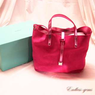 TIFFANY & CO REVERSIBLE SHOPPNG TOTE PINK ROSE SUEDE METALLIC LEATHER