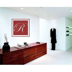 Solid Square Border Cursive Letter R Monogram Letters Vinyl Wall Decal