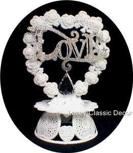 Crystal Bling LOVE Wedding Cake topper white silver