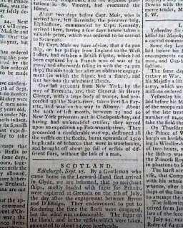 1779 Newspaper JOHN PAUL JONES Battle of Stono Ferry REVOLUTIONARY WAR