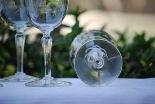 Crystal Berry Dot Cluster Stem Wine Goblet Glass Set of 8