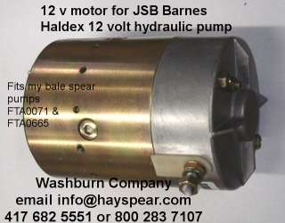 JSB Barnes Haldex 12 volt Hydraulic pump motor 12 v