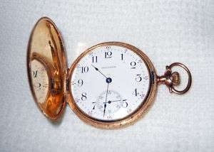 Antique1908 WALTHAM Double Hunting Case POCKET WATCH 14K GOLD |