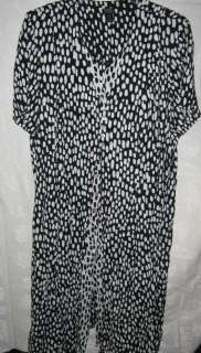 MSK Black & White Print Dress Plus Size 30W Layered Look