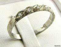 Genuine Single Cut Diamond Wedding Band   18k Solid White Gold 1900 10