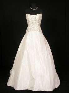 600 Ivory Silk Taffeta Ballgown Beads Couture Wedding Gown Dress New