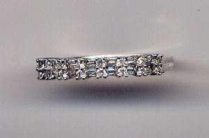 14K White Gold Ladies 16 Diamond Band Ring Size 8 NR