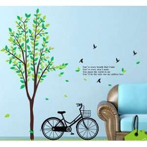 Wall Decor Removable Decal Sticker   Green Tree and Love Bike Baby