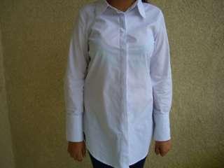 AZIZA White Cotton Social Dress Shirts Womens Size L