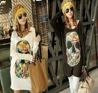 Womens Large Loose Colorful Skull Bat Long Sleeve T Shirt Tops Dress