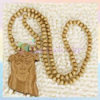 Wooden JESUS Piece Rosary Necklace CHRIST Pendant Chain