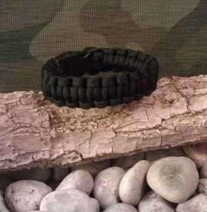 Paracord Survival Bracelet Black Cobra Weave Military Tactical