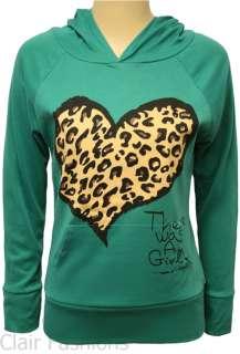 Leopard Heart Animal Print Top Womens Long Sleeve Hoodie 8 14