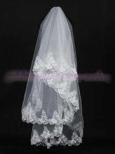 Ivory Bride Bridal Wedding Veil w Floral Lace Cathedral Length
