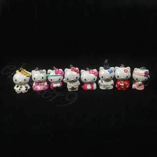 Lot of 8 PCS Styles Hello Kitty Keychain Key Ring Charm