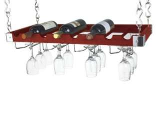 Wine Bottle & Glass Ceiling or Wall Rack  Espresso Wood 845033066476