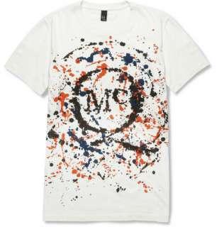 Clothing  T shirts  Crew necks  Splash Print Cotton T Shirt