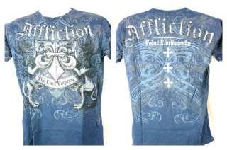 Fedor Emelianenko Emperor Affliction Premium Navy Blue T shirt New