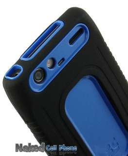 BLUE BLACK DUO SHIELD SOFT RUBBER HARD CASE COVER FOR MOTOROLA DROID