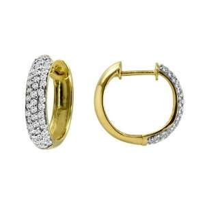 10k Yellow Gold Round Pave Diamond Hoop Earrings (1/2 cttw