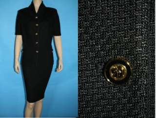 JOHN COLLECTION KNIT FITTED JACKET & SKIRT 2 PC SUIT LOGO BUTTON 16 14