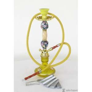 17 Ziedu Hookah Yellow Vase, Two Yellow Ceramic Flower Bulbs and One