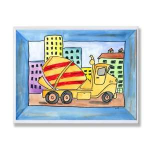 The Kids Room City Life Yellow and Red Cement Truck Wall Plaque Baby