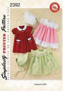 Simplicity 2392 Vintage Baby Dresses & Bonnet Pattern