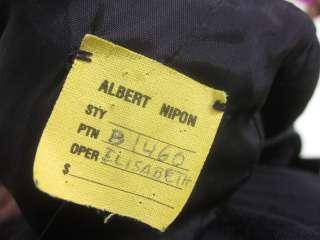 ALBERT NIPON Black Velvet Long Sleeve Button Dress Sz M