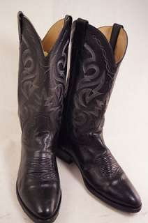 Dan Post Black Leather 9 D Mens Western Boots