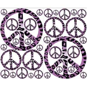Purple Leopard Print Peace Sign Wall Decals Stickers Decor:
