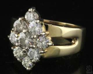 HEAVY 14K GOLD 2.11CT VS DIAMOND CLUSTER COCKTAIL RING SIZE 7.75