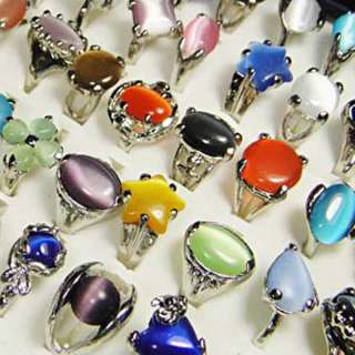 Wholesale jewelry lots 50pcs Cat  Eye stone silver plated Rings free