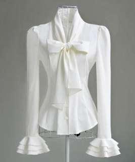 Victorian Women Slim Cocktail Shirt Bow Blouse S/M/L SH09#