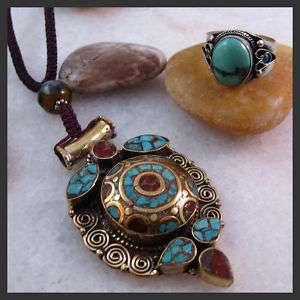 Vintage Tibetan Silver Turquoise Box Necklace Ring Set