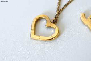 Authentic CHANEL Goldtone CC Open Heart Pendant Necklace 04P