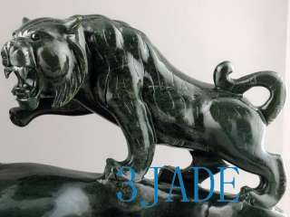 Natural Nephrite Jade Carving / Sculpture Playing Tigers Statue