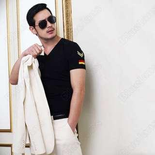 Slim Fit Short Sleeve Shoulder Mark Top Tee Black Shirts 051