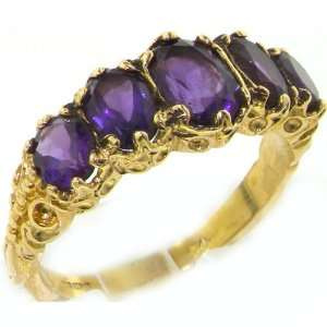 Victorian Style Solid Hallmarked Yellow Gold Genuine Amethyst Ring