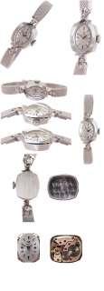 Omega Ladys Solid 14K White Gold & Diamond Vintage Watch, MINT
