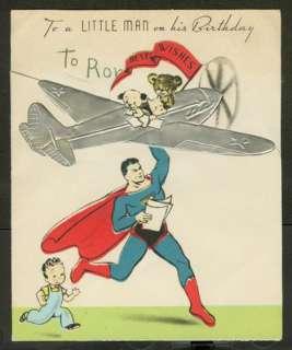 Early 1940s SUPERMAN Birthday Card   SCARCE