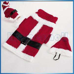 Pet Dog Santa Costume Christmas Xmas Sweater Apparel Belt Design w