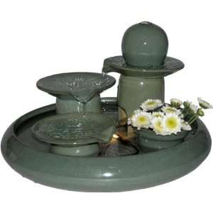 Fountains green ceramic tabletop water fountain home amp kitchen