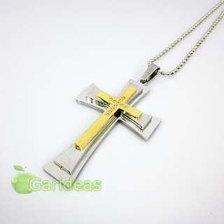 Mens Stainless Steel Multi Diamond Cross Chain Pendant Necklace New