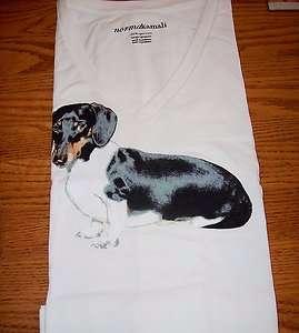 Dachshund Womens V neck T Shirt Large Organic Cotton
