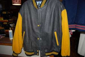 MENS LETTER LETTERMAN LEATHER JACKET LARGE BLACK YELLOW