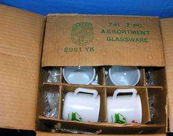 VTG 1940S HAZEL ATLAS MILK GLASS EGG NOG 7 PC PUNCH BOWL SET